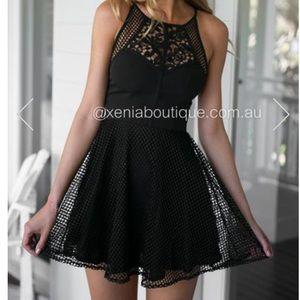 Xenia mesh black mini dress